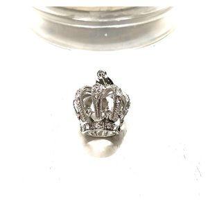 Silver and diamond crown pendant